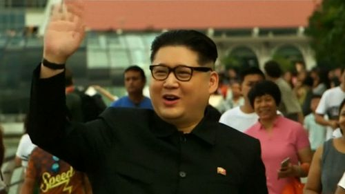 Australian man Howard turns heads dressed as Kim Jong-un in Singapore. Picture: 9NEWS