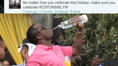 P Diddy tweets: 'drink responsibly', guzzles vodka straight from the bottle