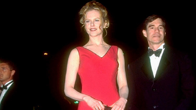 The actress chose a flame red gown with ruffles for the 1995 premiere of move 'To Die For' at the Cannes Film Festival.