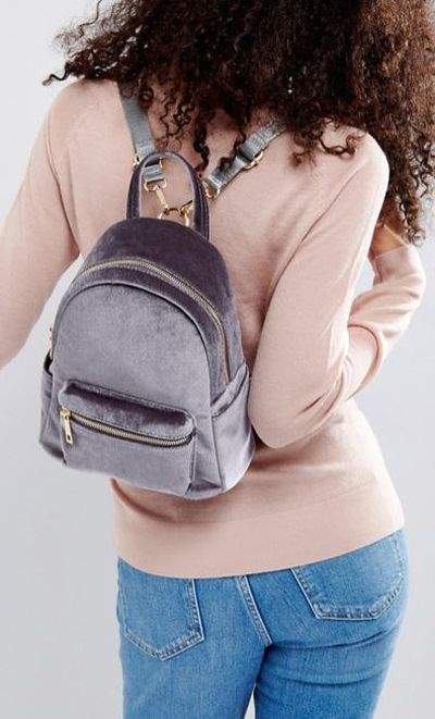 "<a href=""http://www.asos.com/au/qupid/qupid-mini-velvet-backpack/prd/8677129?clr=greyvelvet&amp;SearchQuery=velvet&amp;gridcolumn=2&amp;gridrow=3&amp;gridsize=4&amp;pge=1&amp;pgesize=72&amp;totalstyles=10"" target=""_blank"" draggable=""false"">ASOS Qupid Mini Velvet Backpack Grey Velvet, $48</a>"