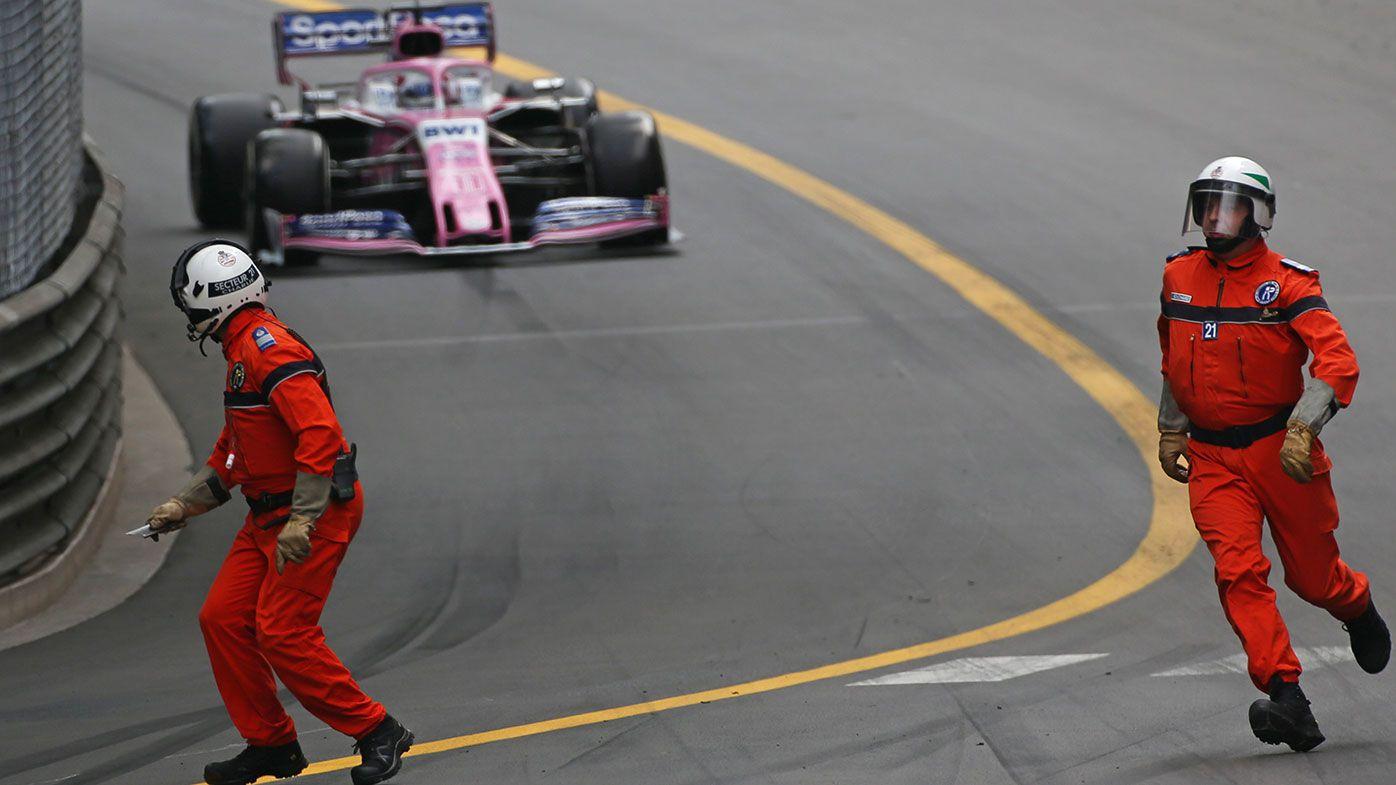 Sergio Perez had a narrow miss when marshals were on the track at the Monaco Grand Prix.