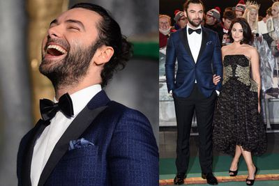 Irish hottie Aidan Turner, who plays Kili in the flick, showing off his actress girlfriend Sarah Greene.