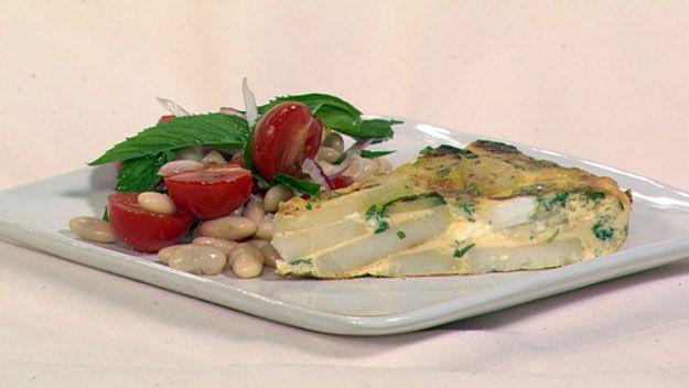 Zucchini, potato & mint frittata with tomato & bean salad