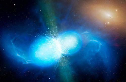 Undated handout artist's impression issued by the University of Warwick of two neutron stars colliding. (AAP)