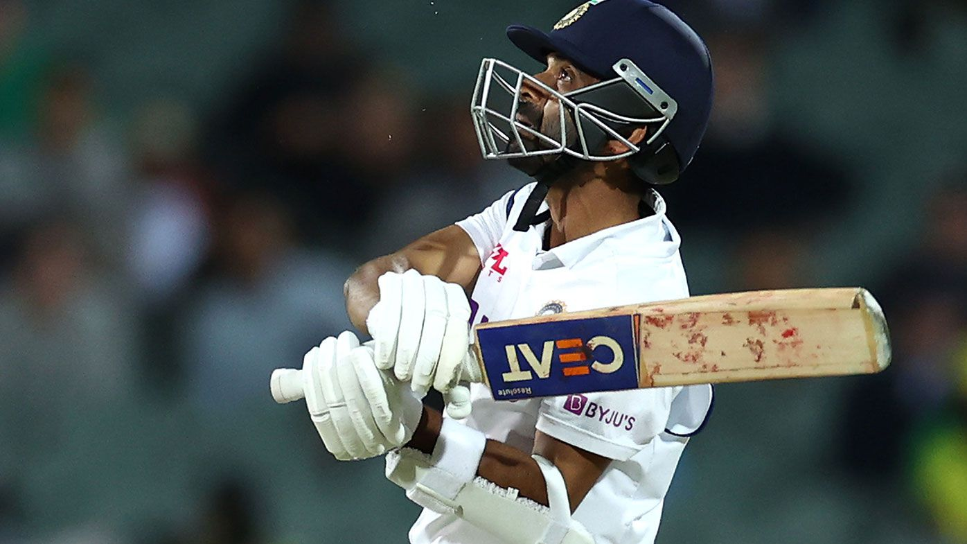Ajinkya Rahane batting during the first Test in Adelaide.