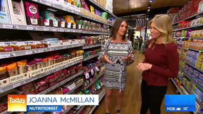 Dr Joanna McMillan in health food aisle