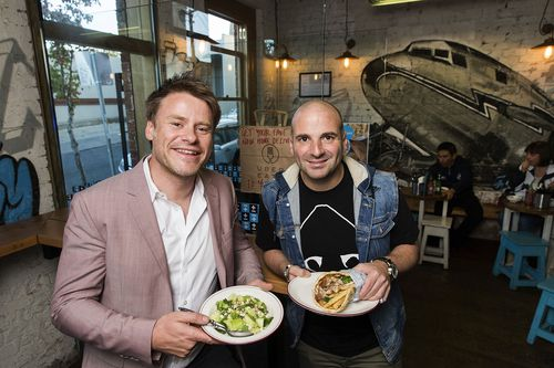 Radek Sali and George Calombaris pose for a photo at Jimmy Grant's in Fitzroy on May 15, 2016 in Melbourne, Australia