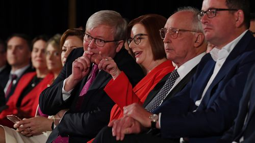 Former Prime Ministers Julia Gillard, Kevin Rudd and Paul Keating were seated next to Victorian premier Daniel Andrews.