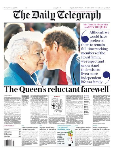 The Daily Telegraph UK front pages Prince Harry Meghan Markle royal exit