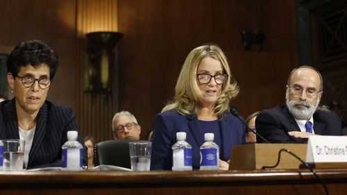 "Ms Ford's voice cracked as she described Kavanaugh as ""the boy who sexually assaulted me""."