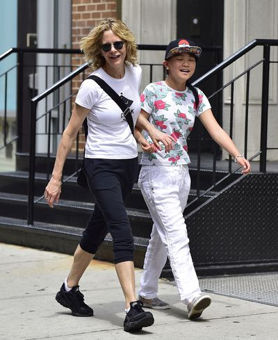 <p>One of America's favourite romantic comedy actresses, Meg Ryan, is single mum to her adult son Jack, 24, (from her marriage to Dennis Quaid) and her 12-year-old daughterDaisy True (pictured), whom she adopted from China in 2006.</p>