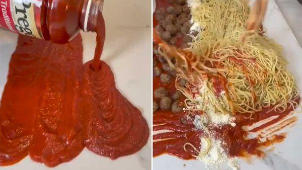 Viral countertop spaghetti hack