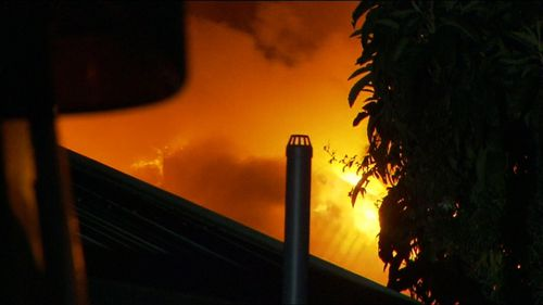 The home was empty at the time of the fire but is believed to have been lived in by hoarders. Picture: 9NEWS.