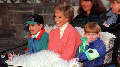 Diana, Harry and William snuggle up on a holiday to Austria, 1994