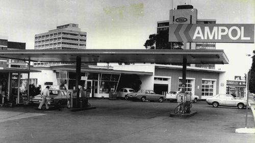 A 1977 photo of the Ampol Service Station located on Pacific Highway, in Chatswood, Sydney.