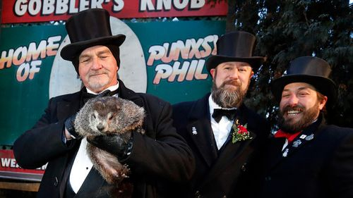 Phil's handlers said the furry rodent has called for six more weeks of winter. (AP/AAP)