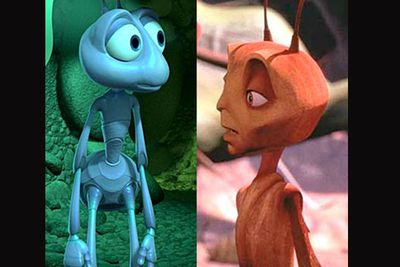 <B>In <I>A Bug's Life</I>...</B> In this computer-animated kids' flick produced by a big animation house, a peaceful ant colony is troubled by grasshoppers and an ant ends up on an adventure to the bug city. He returns home, saves his colony and wins the love of an ant princess.<br/><br/><B>In <I>Antz</I>...</B> In this computer-animated kids' flick produced by a big animation house, a peaceful ant colony is troubled by termites and an ant ends up on an adventure to the bug city. He returns home, saves his colony and wins the love of an ant princess.