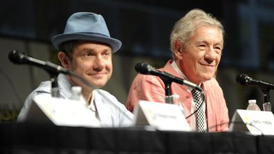 """Actors Martin Freeman (L) and Ian McKellen speak at Warner Bros. Pictures and Legendary Pictures Preview of """"The Hobbit: An Unexpected Journey"""" during Comic-Con International 2012 at San Diego Convention Center on July 14, 2012 in San Diego, California"""