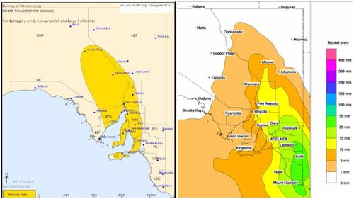 BoM has issued a severe thunderstorm warning for several areas (left), while up to 50mm of rainfall (right) is expected in some areas. (Bureau of Meteorology)