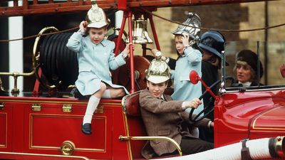 Prince William and Prince Harry at the Old Fire Station in Sandringham House, 1988