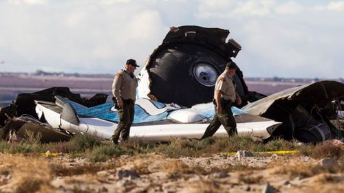 The wreckage near the site where a Virgin Galactic space tourism rocket exploded and crashed in November 2014. (AAP).