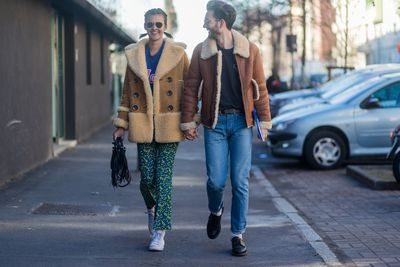 <p>Isaac Hindin-Miller and Jenny Albrigh sport another coming trend - the shearling coat.</p> <p>Image: Getty.</p>