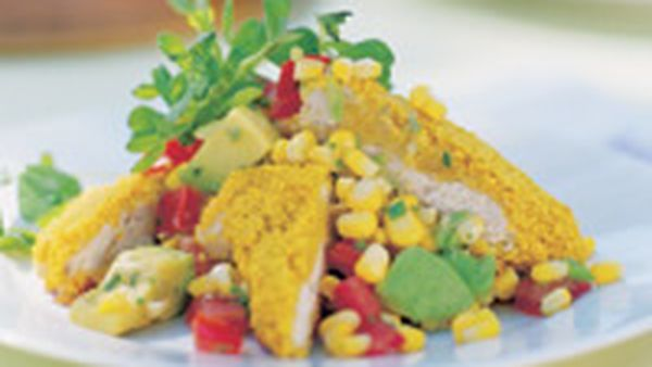 Spicy couscous chicken with fresh corn salsa