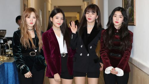 South Korean girl band Red Velvet is seen after their performance in Pyongyang, North Korea. (AP)