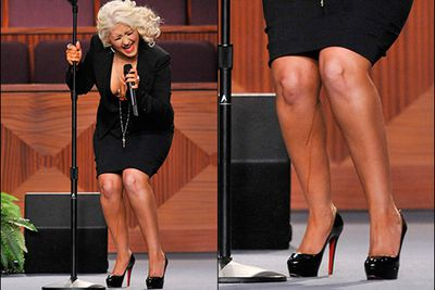 Christina has had plenty of cringe-worthy tanning moments, but the worst was when dark liquid literally dripped down her legs while performing at Etta James' funeral. So wrong on so many levels.