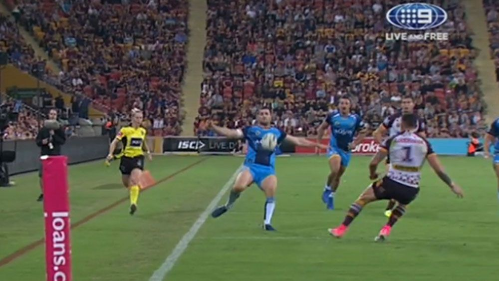 NRL 2017: Gold Coast Titans winger does his best Cristiano Ronaldo impersonation to set up super try