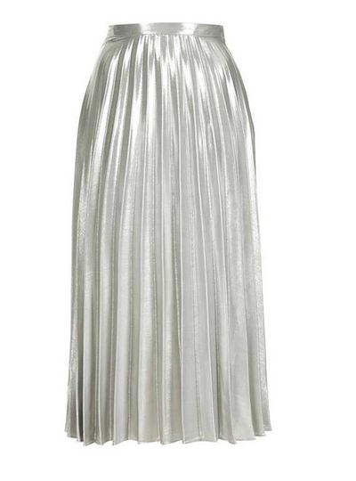 "<p><a href=""http://www.topshop.com/en/tsuk/product/tall-metallic-pleat-skirt-5785861?bi=0&amp;ps=20&amp;Ntt=midi%20skirt"" target=""_blank"">Topshop</a>&nbsp;silver pleated midi skirt, $116</p>"