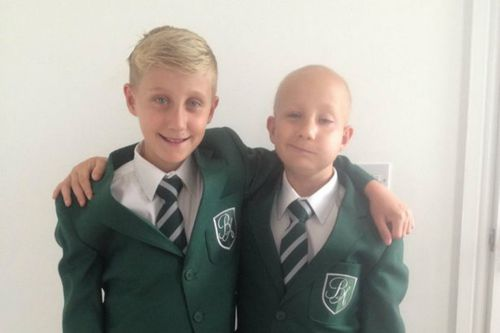 Brave brain tumour survivor starts high school with his twin brother by his side