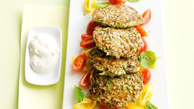 "Click here for our <a href=""http://kitchen.nine.com.au/2016/05/16/14/48/zucchini-fritters-with-tomato-mint-salad"" target=""_top"">Zucchini fritters with tomato mint salad</a>"