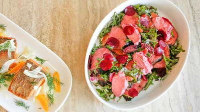 "<a href=""http://kitchen.nine.com.au/2016/10/13/13/19/manu-feildels-beef-blood-orange-and-pickled-beetroot-salad-on-a-bed-of-beetroot-hommus"" target=""_top"">Manu Feildel's beef, blood orange and pickled beetroot salad on a bed of beetroot hommus</a>"