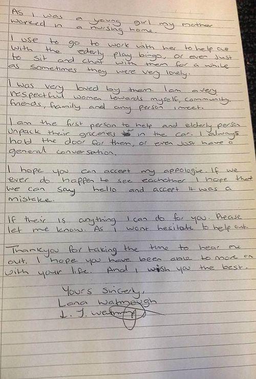 Larna Watmough's apology letter to Paul Buttigieg, part two.