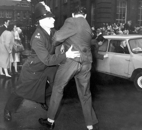 Angry scenes outside Manchester Crown Court during the 1966 trial of Brady and Hindley.