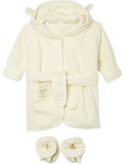 "<p><a href=""http://www.selfridges.com/AU/en/cat/natures-purest-pure-love-bathrobe-26-slippers-set-0-6-months_164-3001276-10251/"" target=""_blank"">Nature's Purest Pure Love Bathrobe & Slippers Set 0-6 months, $54.</a></p>"