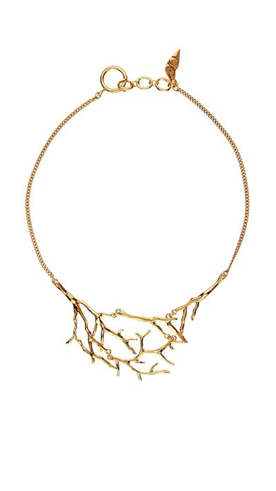 "<a href=""http://www.matchesfashion.com/au/products/Diane-Von-Furstenberg-Twig-gold-plated-necklace-1030165#"" target=""_blank"">Twig Gold-Plated Necklace, $143, Diane Von Furstenburg</a>"