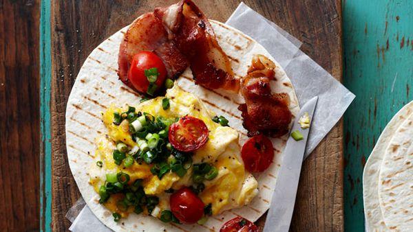 Bacon and egg scramble wrap