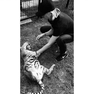 "<p>Kaley took a trip to the Black Jaguar White Tiger Foundation sanctuary. The location is kept secret, as the foundation rescues big felines from ""cruel circumstances"". The foundation is based in Mexico.</p>"