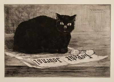 Chat Noir sur un Journal, Henri-Charles Guerard (19th century)
