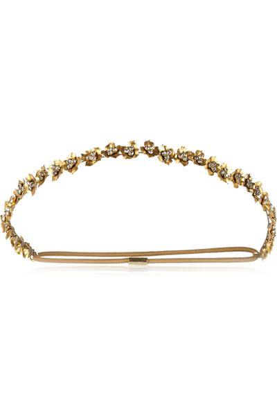 "<p><a href=""http://www.net-a-porter.com/au/en/product/590740"" target=""_blank"">Maye Swarovski crystal-embellished gold-plated headband, $515.89, Jennifer Behr</a></p>"