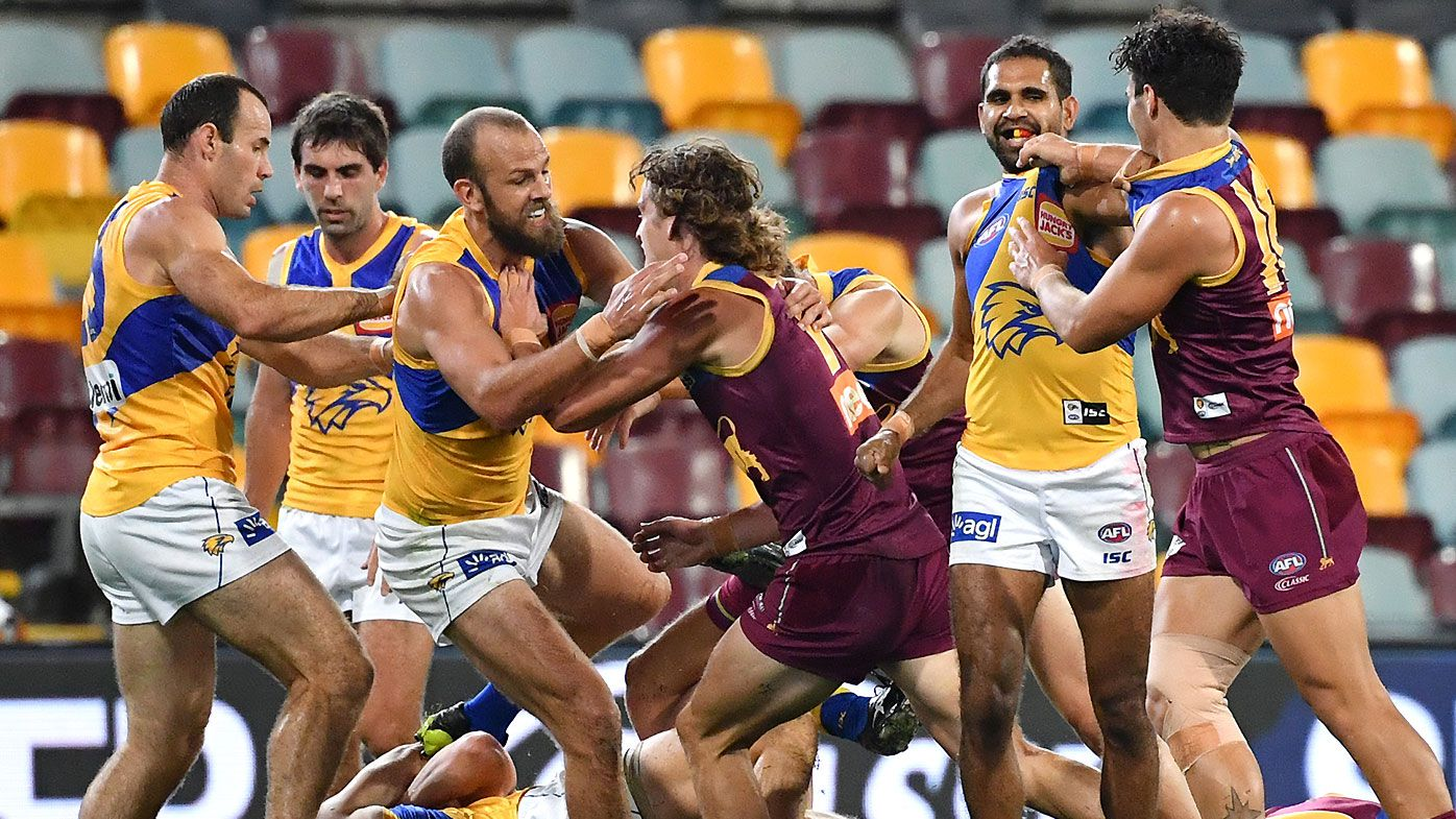 Fiery clash erupts after West Coast Eagles youngster is dumped in vicious tackle