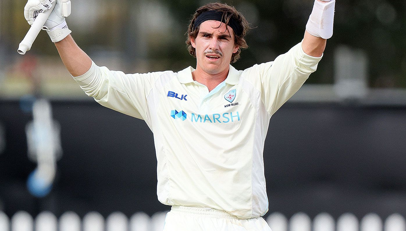 Sean Abbott celebrates his first first-class century earlier this week.