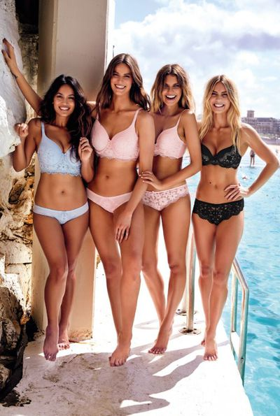 Bianca Cheah, Robyn Lawley, Elle Furguson and Elyse Knowles modelling the Body Bliss by Bras N Things collection