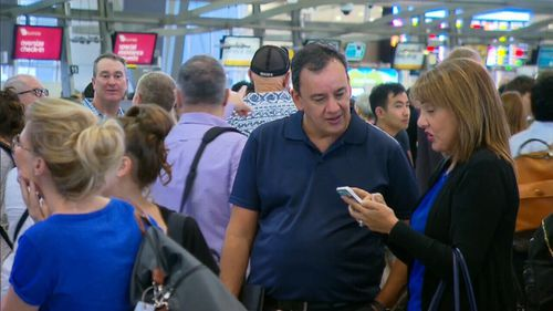 Passengers at Sydney Airport's International Terminal 1 and Domestic Terminal 2 were affected by the lengthy delays (Supplied).