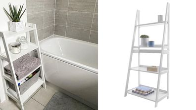 A ladder organiser in a bathroom and an example from Kmart