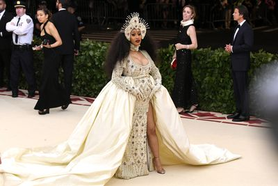 Cardi B in Moschino at the Heavenly Bodies: Fashion & The Catholic Imagination Costume Institute Gala at The Metropolitan Museum of Art in New York, May, 2018