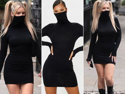 Bodycon dress with built-in face mask