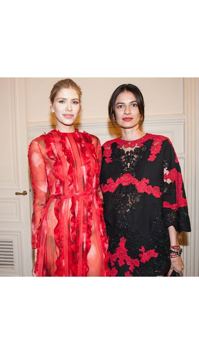 <p>Elena Perminova and Leila Yavari at the Cash &amp; Rocket party at Maison Valentino in Paris.</p>